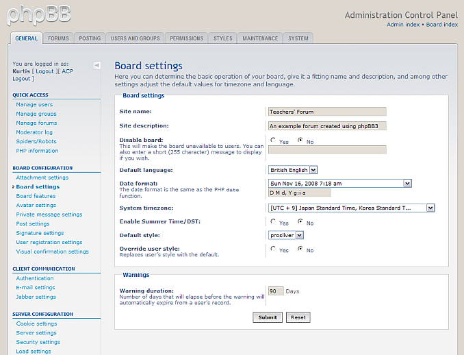 Figure 2. Changing the board settings on the administration control panel