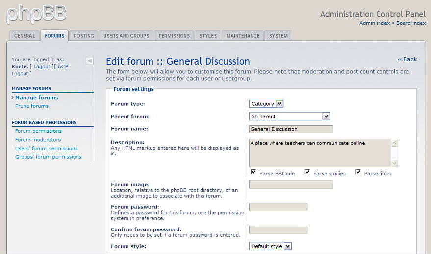 Figure 3. Customizing the forums on the ACP