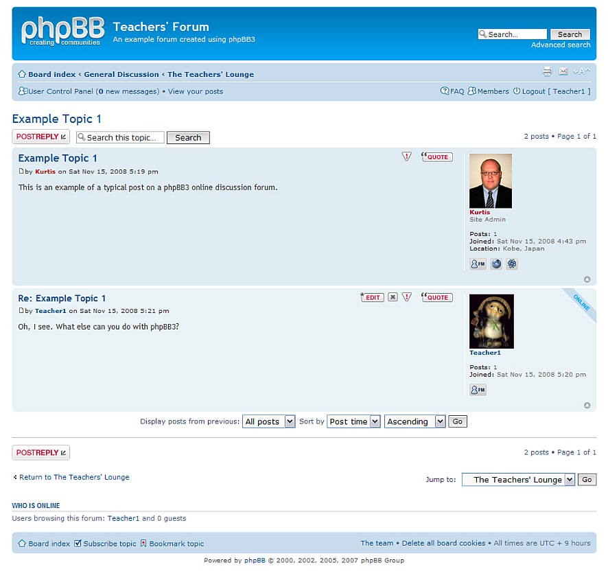 Figure 6. An example discussion using phpBB3
