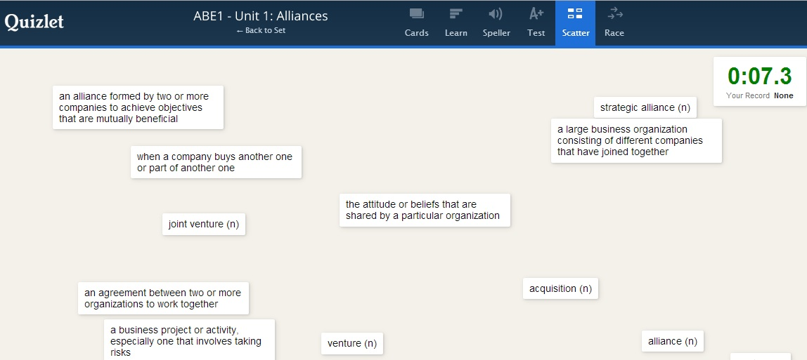 Web-based Vocabulary Learning with Quizlet