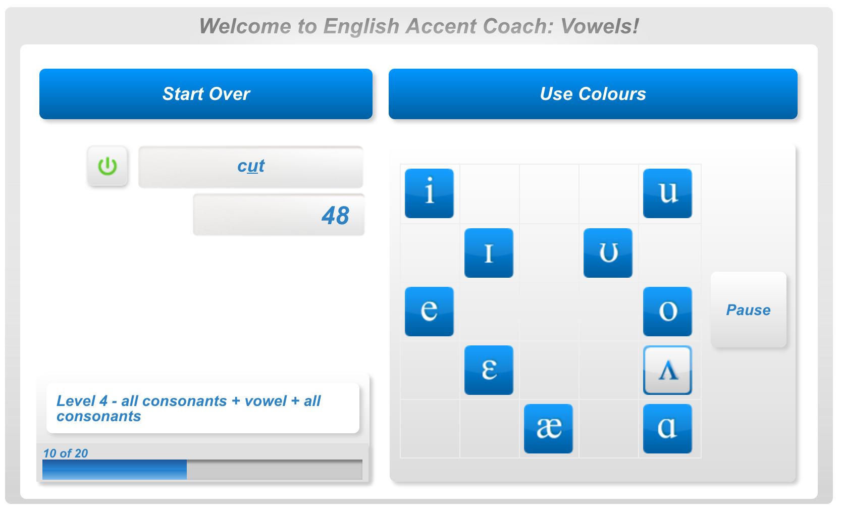 English accent coach vowel game with symbols figure 6 vowel game with colors nvjuhfo Choice Image